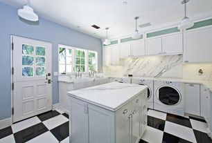 Traditional Laundry Room with Electrolux 4.4 cu. ft. front-load steam washer & 8.0 cu. ft. steam dryer bundle, Dutch door