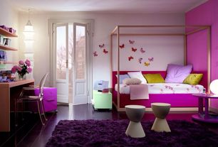 Contemporary Kids Bedroom with French doors, Hardwood floors, Euro Style Plastic Sallie Stool, White, Crown molding