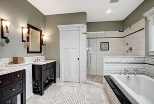 Traditional Master Bathroom with stone tile floors, Casement, specialty door, Handheld showerhead, Standard height, Flush