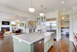 Traditional Kitchen with Flat panel cabinets, Glass panel, Farmhouse sink, Ms international carrara white marble, dishwasher