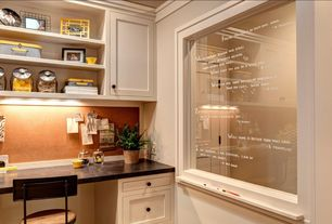 Traditional Home Office with Standard height, Built-in bookshelf, Crown molding