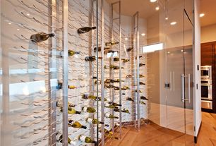 Contemporary Wine Cellar with Glass panel door, Hardwood floors