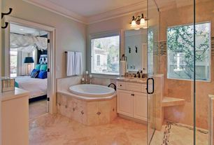 Traditional Master Bathroom with Complex Granite, Flat panel cabinets, Complex granite counters, Inset cabinets