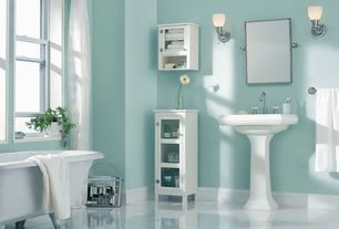Traditional Full Bathroom with Gatco - Wall Mount Rectangular Mirror in Chrome, Pedestal sink, Glass panel, Flush, Clawfoot
