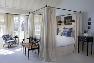Traditional Master Bedroom with PB  Antonia Canopy Bed, Standard height, Casement, Carpet, Paint 1, Exposed beam