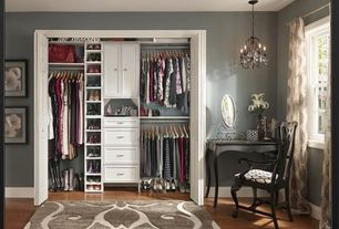 Traditional Closet with Laminate floors, Chandelier, Standard height, Built-in bookshelf, double-hung window