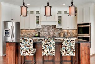 Contemporary Kitchen with Pendant light, Breakfast bar, Pier 1 Mason Counterstools - Ivory, Ceramic Tile, Flat panel cabinets