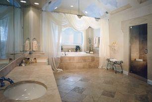 Traditional Master Bathroom with Skylight, frameless showerdoor, Paint 1, picture window, stone tile floors, full backsplash