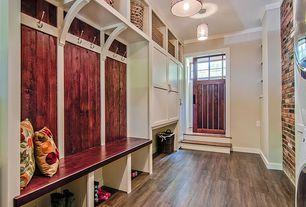 Country Mud Room with Built-in bookshelf, flush light, Hardwood floors, 9.75 in. x 7.75 in. White Elegant Shelf Bracket