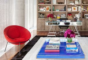 Contemporary Home Office with W Lounge Chair in Red, Laminate floors, Standard height, Built-in bookshelf, Columns