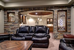 Traditional Basement with Pendant light, Dual leather recliner, Concrete floors
