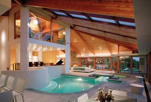 Modern Swimming Pool with Skylight, Indoor pool, exterior stone floors