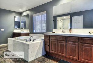 Traditional Master Bathroom with Rain shower, Raised panel, specialty door, slate tile floors, Large Ceramic Tile