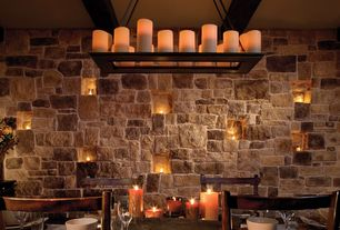 Rustic Dining Room with Chandelier, Restoration hardware- pillar candle rectangular chandelier, Standard height, Exposed beam