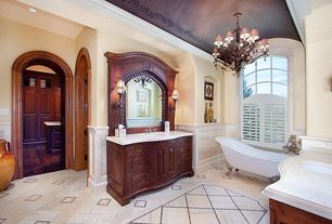 Master Bathroom with Wainscotting, Arch ceiling, Chandelier, Clawfoot, Limestone counters, Inset cabinets, Undermount sink