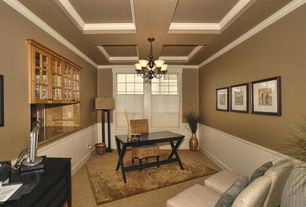 Traditional Home Office with Chandelier, Box ceiling, Standard height, Crown molding, Built-in bookshelf, Carpet