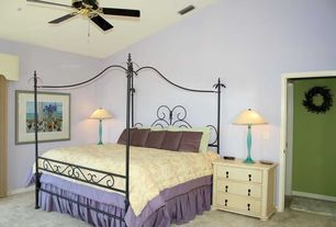 Modern Guest Bedroom with Standard height, Carpet, Ceiling fan