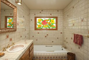 Eclectic Full Bathroom with Stained glass window, Raised panel, Master bathroom