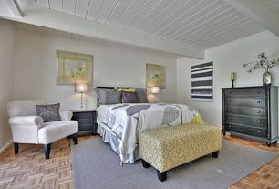 Contemporary Guest Bedroom with Carpet, Laminate floors, Exposed beam, Wainscotting