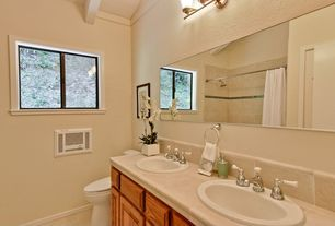 Traditional Full Bathroom with Subway Tile, Full Bath, curtain showerdoor, Framed Partial Panel, Drop-in sink, Shower