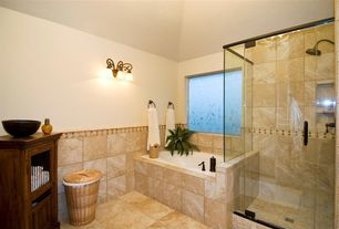 Modern Master Bathroom with Wall sconce, Vinyl floors, Stained glass window, Master bathroom, Chair rail