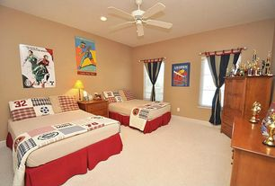 Modern Kids Bedroom with Ceiling fan, specialty window, Standard height, can lights, Carpet, picture window