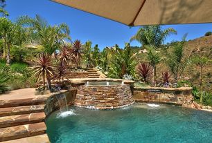 Rustic Swimming Pool with Pathway, exterior stone floors, Pool with hot tub