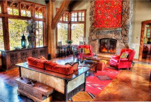 Rustic Living Room with stone fireplace, terracotta tile floors, Exposed beam, High ceiling, Columns