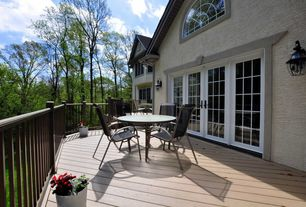 Traditional Deck with Arched window, French doors, Deck Railing
