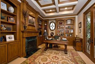 Traditional Home Office with French doors, Box ceiling, stone fireplace, High ceiling, Built-in bookshelf, Carpet