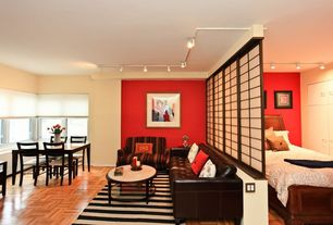 Eclectic Great Room with Mural, Pendant light, Hand-woven Jailhouse Stripe Jet Black Wool Rug, Laminate floors, Carpet