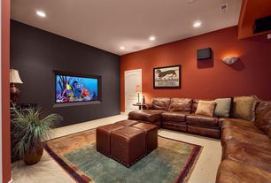 Modern Home Theater with Wall sconce, Carpet, Dark brown bonded leather cube ottoman, Faux alabaster supreme wall sconce
