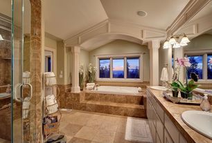 Traditional Full Bathroom with frameless showerdoor, Maxim Lighting - 2 Light Bathroom Light, Columns, Raised panel