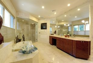 Modern Master Bathroom with Double sink, Complex marble counters, Flush, Wall sconce, Undermount sink, Steam showerhead