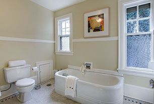 Traditional Full Bathroom with Flush, Casement, Flat panel cabinets, Standard height, Bathtub, Wall Tiles, penny tile floors