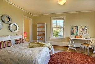 Contemporary Master Bedroom with flush light, Hardwood floors, Crown molding