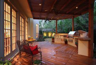 Modern Porch with Fence, Wrap around porch, French doors, Trellis, Outdoor kitchen