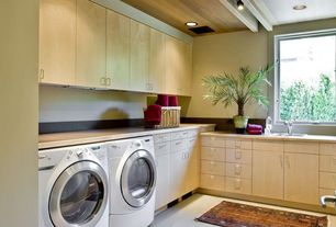 Contemporary Laundry Room with Exposed beam, Farmhouse sink