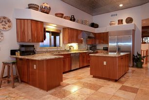 Traditional Kitchen with Flat panel cabinets, Complex Granite, Casement, partial backsplash, Undermount sink, L-shaped, Flush