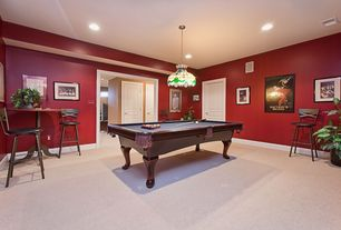 Traditional Game Room with flush light, High ceiling, Carpet