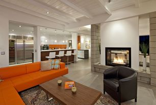Contemporary Great Room with Carpet, Exposed beam, Fireplace, can lights, Standard height, insert fireplace, Concrete floors