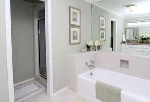 Modern 3/4 Bathroom with partial backsplash, three quarter bath, Framed Partial Panel, Simple Granite, Undermount sink