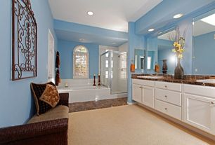 Modern Master Bathroom with High ceiling, can lights, Raised panel, Shower, Bathtub, unframed mirror, Arched window, Carpet