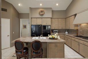 Modern Kitchen with Flush, American olean 11-pack bevalo dove glazed porcelain indoor/outdoor floor tile, Flat panel cabinets