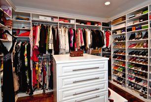 Contemporary Closet with can lights, Standard height, Hardwood floors, Built-in bookshelf