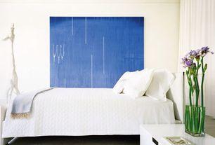 Modern Guest Bedroom with Built-in bookshelf, Carpet