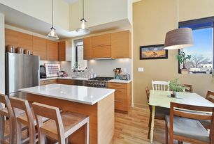 Modern Kitchen with UltraCompact Surface Countertop in Zenith, Breakfast nook, L-shaped, High ceiling, dishwasher, Paint