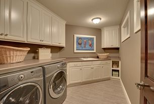 Traditional Laundry Room with Standard height, Undermount sink, picture window, Paint, laundry sink, six panel door
