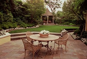 Traditional Patio with Gazebo, exterior stone floors, Fence