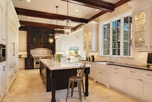 Traditional Kitchen with Pottery barn hundi lantern, Restoration Hardware Remy Stool